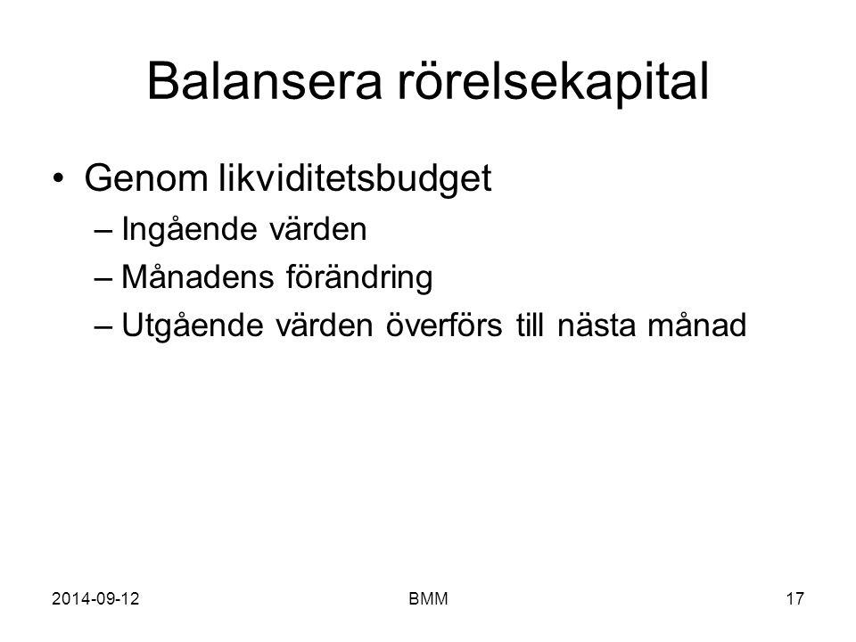 2014-09-12BMM17 Balansera rörelsekapital Genom likviditetsbudget –Ingående värden –Månadens förändring –Utgående värden överförs till nästa månad