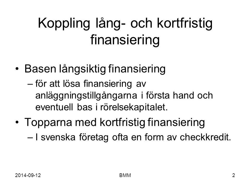 2014-09-12BMM2 Koppling lång- och kortfristig finansiering Basen långsiktig finansiering –för att lösa finansiering av anläggningstillgångarna i först