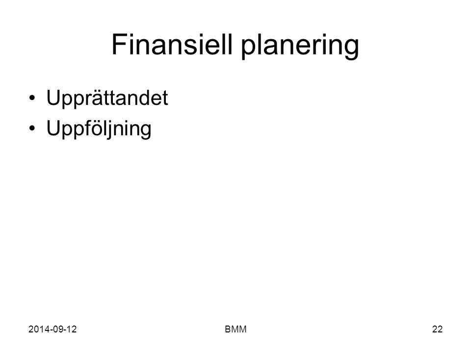 2014-09-12BMM22 Finansiell planering Upprättandet Uppföljning