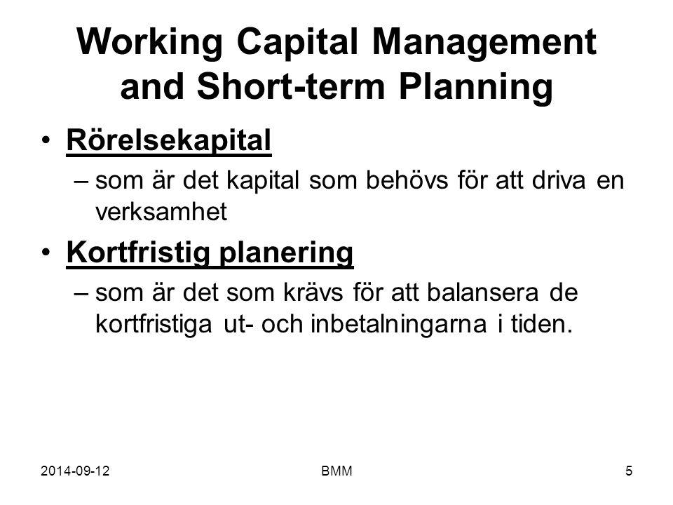 2014-09-12BMM5 Working Capital Management and Short-term Planning Rörelsekapital –som är det kapital som behövs för att driva en verksamhet Kortfristi