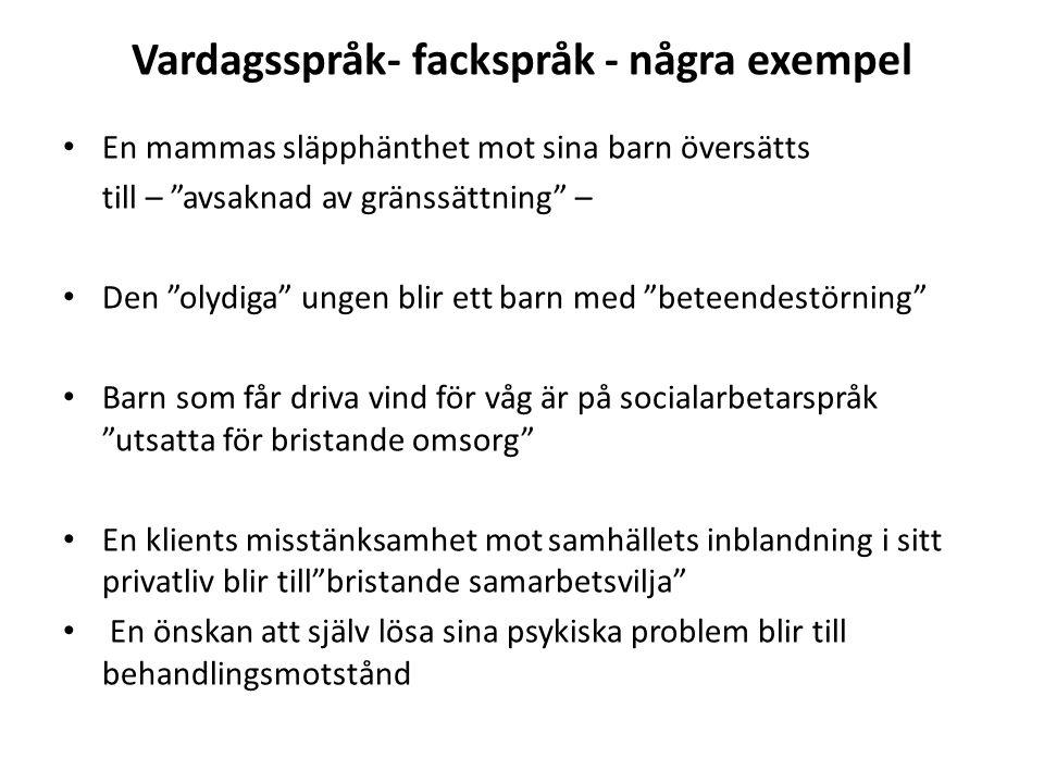 """Vardagsspråk- fackspråk - några exempel En mammas släpphänthet mot sina barn översätts till – """"avsaknad av gränssättning"""" – Den """"olydiga"""" ungen blir e"""