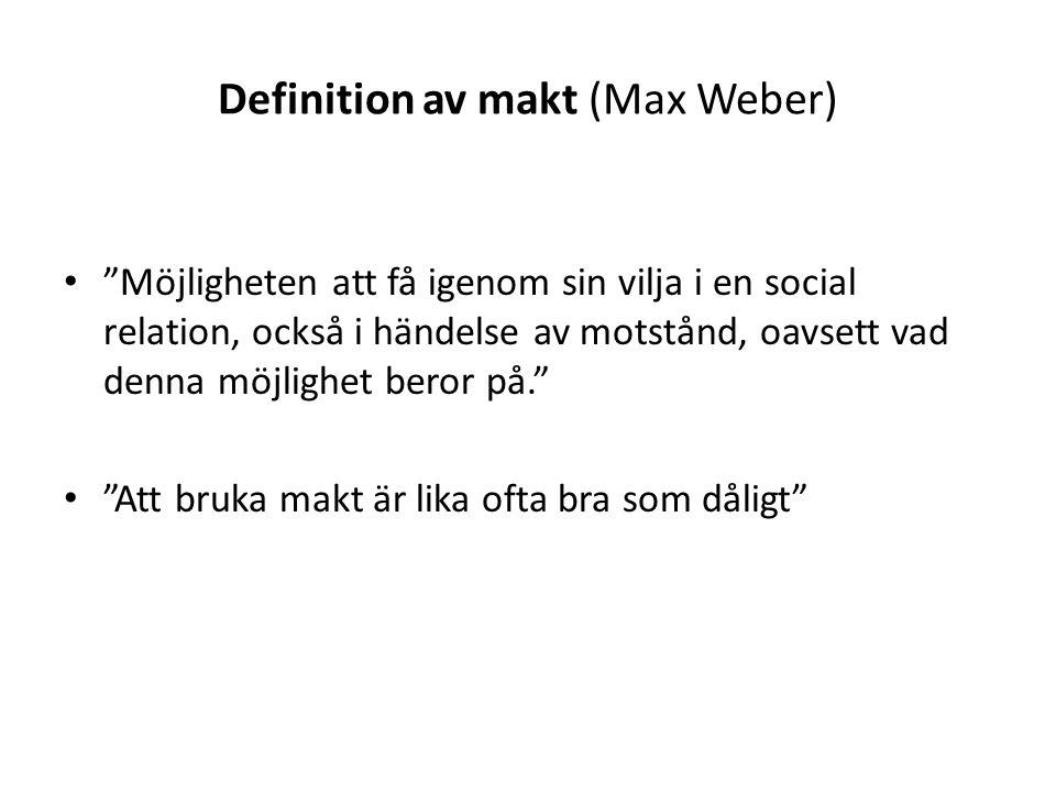"""Definition av makt (Max Weber) """"Möjligheten att få igenom sin vilja i en social relation, också i händelse av motstånd, oavsett vad denna möjlighet be"""