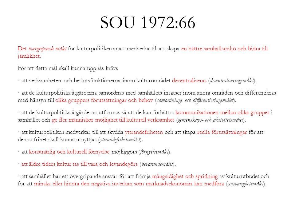 SOU 1972:66 Det övergripande målet för kulturpolitiken är att medverka till att skapa en bättre samhällsmiljö och bidra till jämlikhet. För att detta