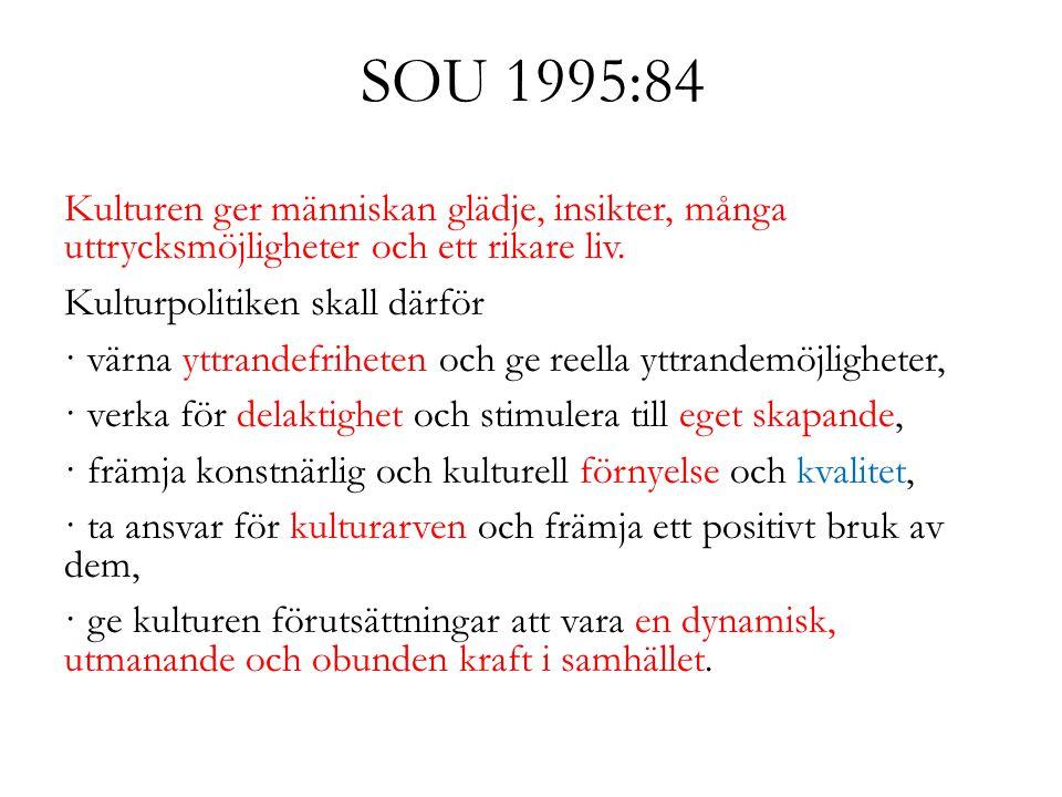 SOU 1995:84 Kulturen ger människan glädje, insikter, många uttrycksmöjligheter och ett rikare liv. Kulturpolitiken skall därför · värna yttrandefrihet