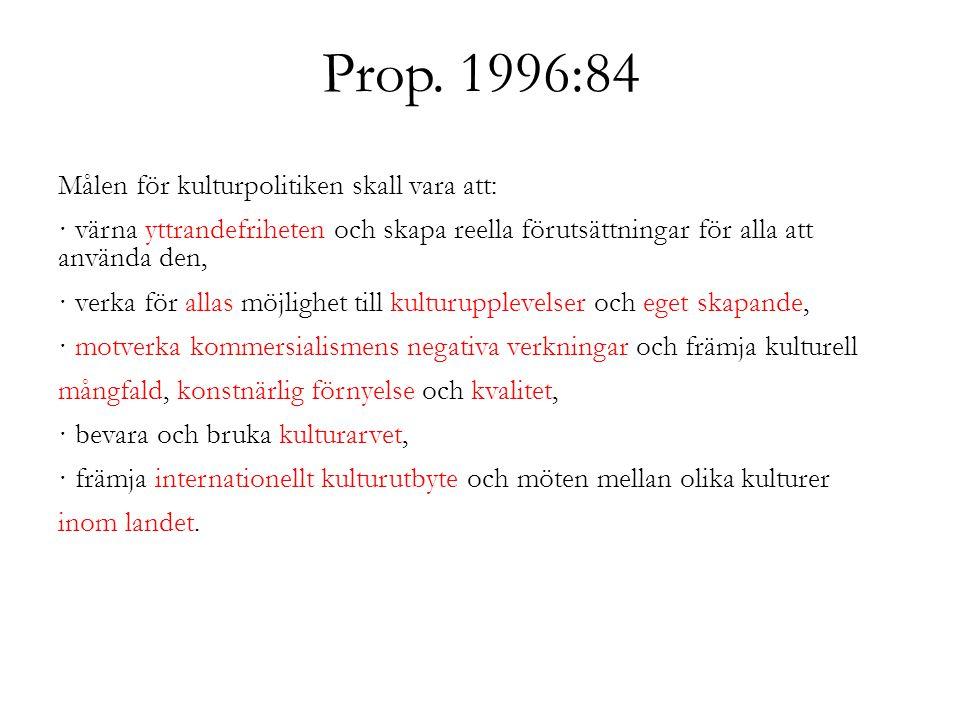 Prop. 1996:84 Målen för kulturpolitiken skall vara att: · värna yttrandefriheten och skapa reella förutsättningar för alla att använda den, · verka fö