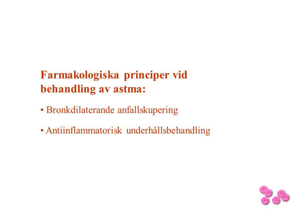 Farmakologiska principer vid behandling av astma: Bronkdilaterande anfallskupering Antiinflammatorisk underhållsbehandling