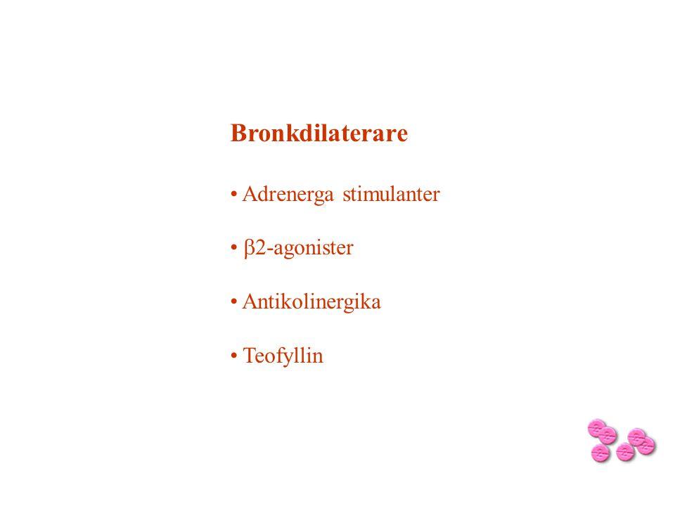 Bronkdilaterare Adrenerga stimulanter  2-agonister Antikolinergika Teofyllin