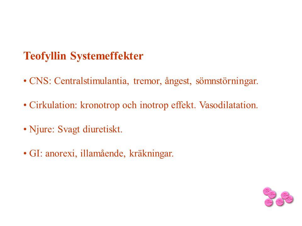 Teofyllin Systemeffekter CNS: Centralstimulantia, tremor, ångest, sömnstörningar. Cirkulation: kronotrop och inotrop effekt. Vasodilatation. Njure: Sv