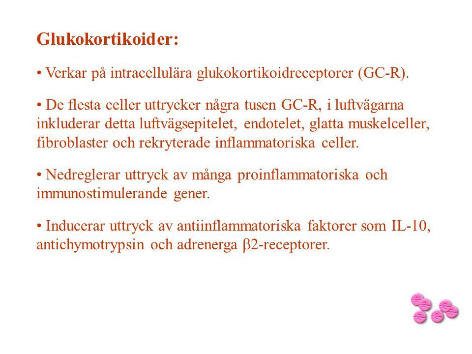 Glukokortikoider: Verkar på intracellulära glukokortikoidreceptorer (GC-R). De flesta celler uttrycker några tusen GC-R, i luftvägarna inkluderar dett