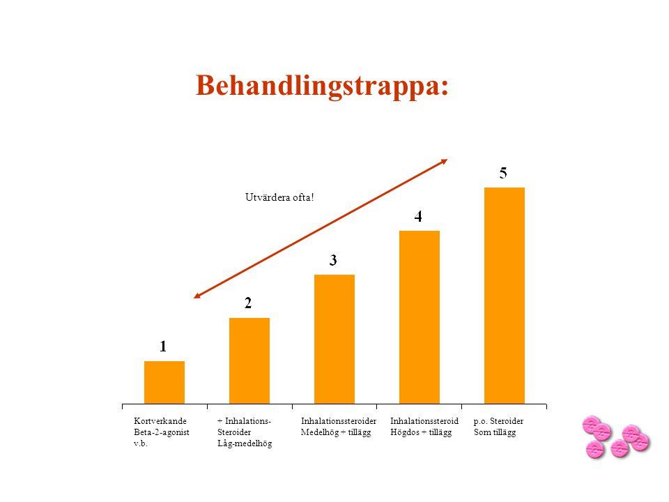 Behandlingstrappa: Kortverkande Beta-2-agonist v.b. + Inhalations- Steroider Låg-medelhög Inhalationssteroider Medelhög + tillägg Inhalationssteroid H