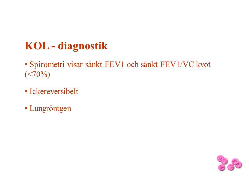 KOL - diagnostik Spirometri visar sänkt FEV1 och sänkt FEV1/VC kvot (<70%) Ickereversibelt Lungröntgen