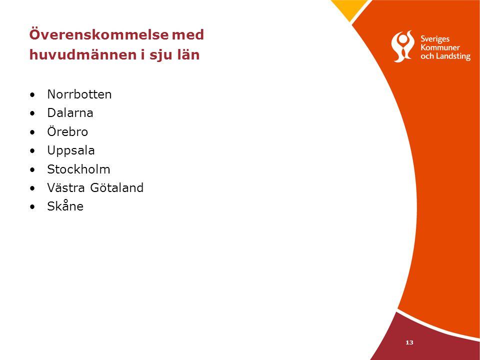 13 Överenskommelse med huvudmännen i sju län Norrbotten Dalarna Örebro Uppsala Stockholm Västra Götaland Skåne