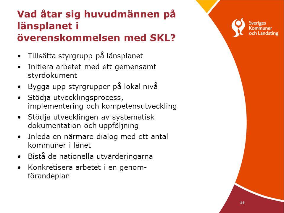14 Vad åtar sig huvudmännen på länsplanet i överenskommelsen med SKL? Tillsätta styrgrupp på länsplanet Initiera arbetet med ett gemensamt styrdokumen