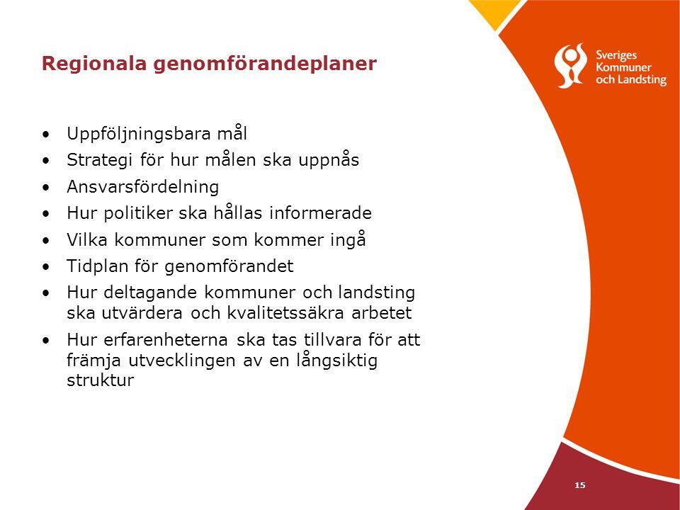 15 Regionala genomförandeplaner Uppföljningsbara mål Strategi för hur målen ska uppnås Ansvarsfördelning Hur politiker ska hållas informerade Vilka ko