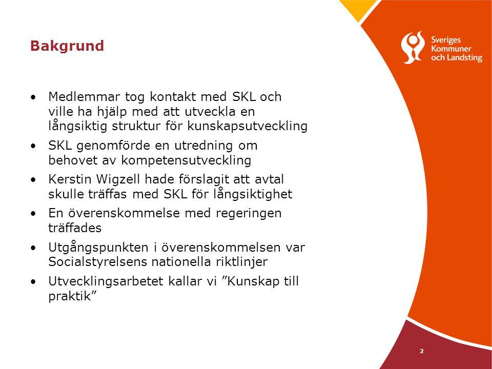 2 Bakgrund Medlemmar tog kontakt med SKL och ville ha hjälp med att utveckla en långsiktig struktur för kunskapsutveckling SKL genomförde en utredning