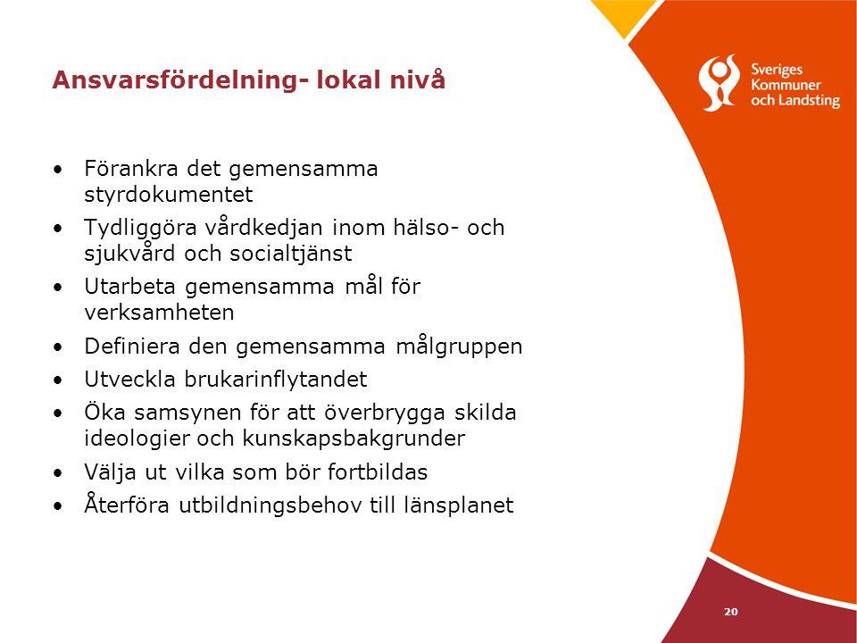 20 Ansvarsfördelning- lokal nivå Förankra det gemensamma styrdokumentet Tydliggöra vårdkedjan inom hälso- och sjukvård och socialtjänst Utarbeta gemen