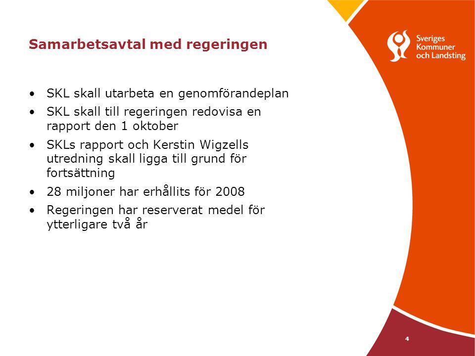 4 Samarbetsavtal med regeringen SKL skall utarbeta en genomförandeplan SKL skall till regeringen redovisa en rapport den 1 oktober SKLs rapport och Ke