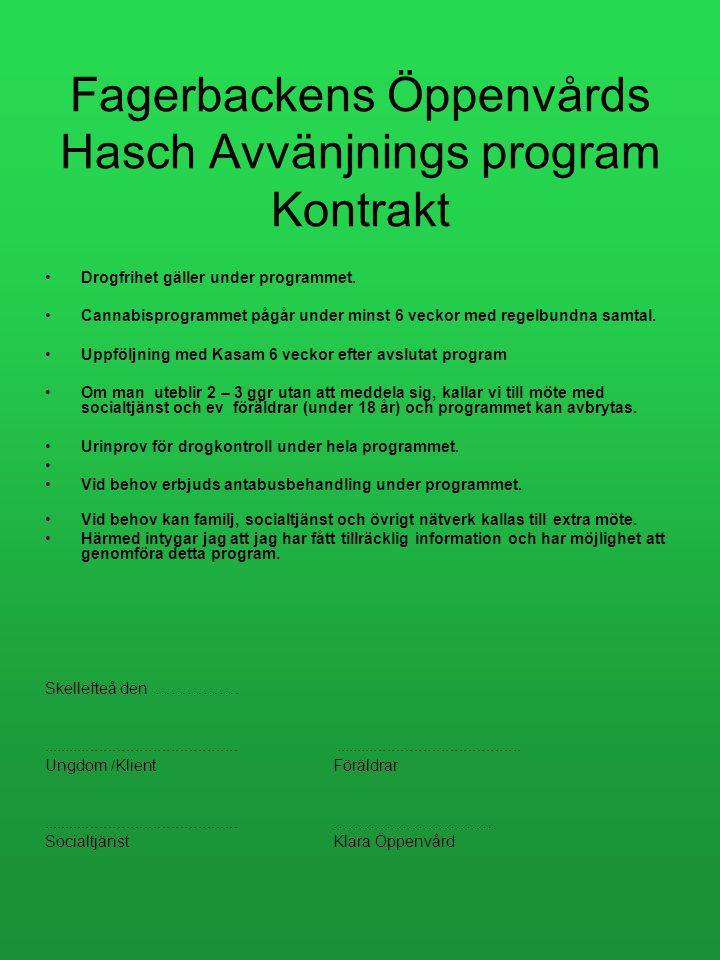 Fagerbackens Öppenvårds Hasch Avvänjnings program Kontrakt Drogfrihet gäller under programmet.