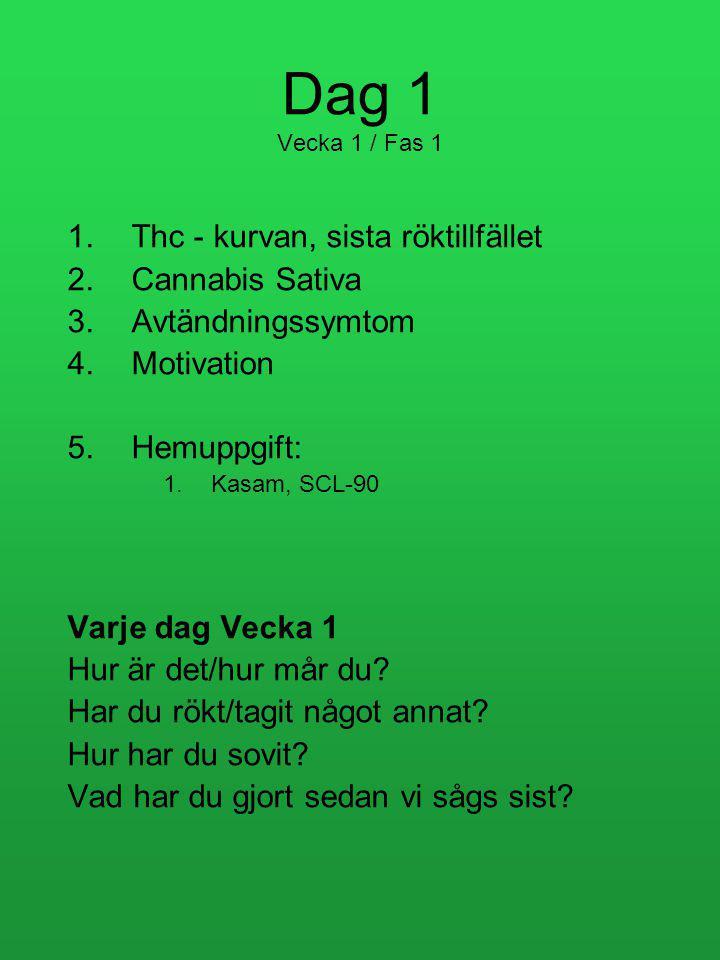 Dag 1 Vecka 1 / Fas 1 1.Thc - kurvan, sista röktillfället 2.Cannabis Sativa 3.Avtändningssymtom 4.Motivation 5.Hemuppgift: 1.Kasam, SCL-90 Varje dag Vecka 1 Hur är det/hur mår du.