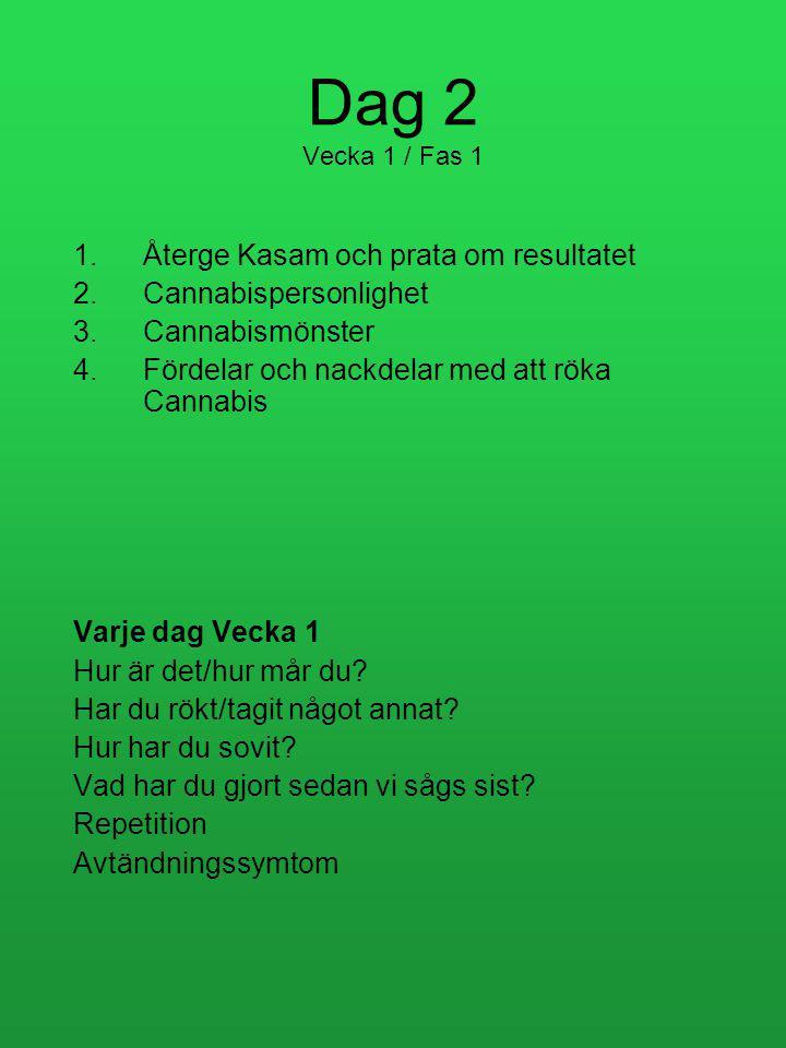 Dag 2 Vecka 1 / Fas 1 1.Återge Kasam och prata om resultatet 2.Cannabispersonlighet 3.Cannabismönster 4.Fördelar och nackdelar med att röka Cannabis Varje dag Vecka 1 Hur är det/hur mår du.