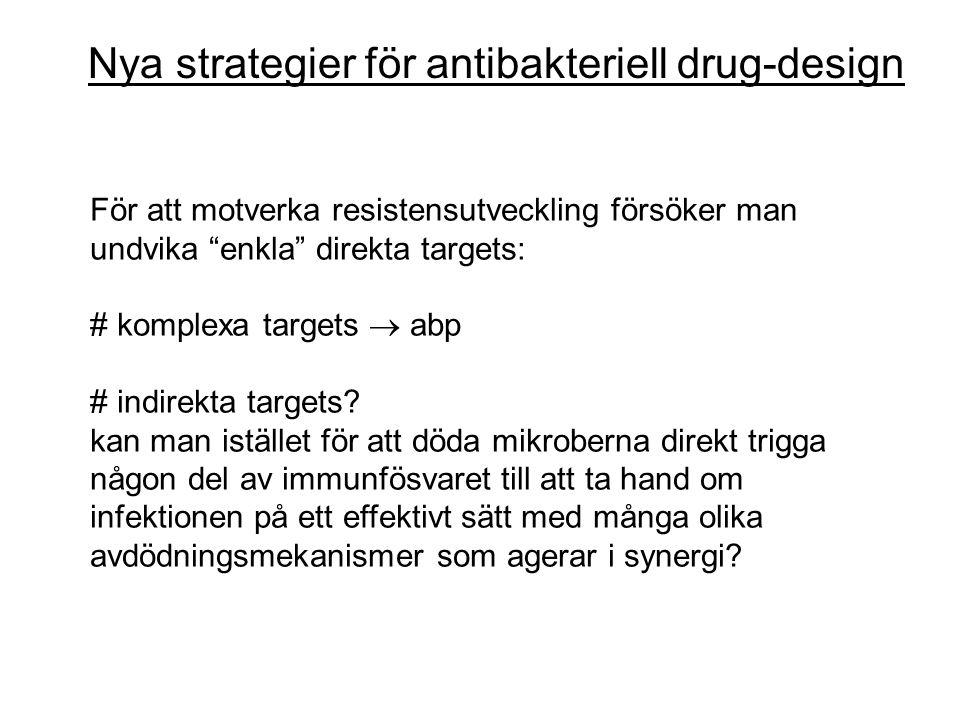 Nya strategier för antibakteriell drug-design För att motverka resistensutveckling försöker man undvika enkla direkta targets: # komplexa targets  abp # indirekta targets.