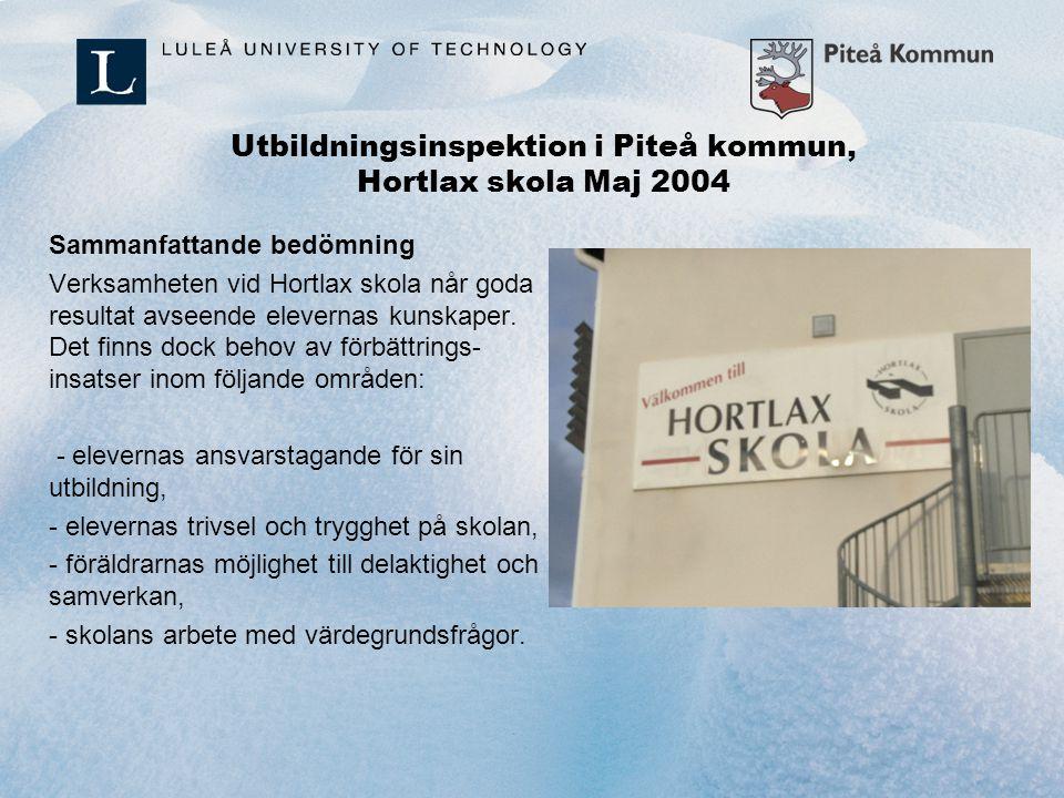 Utbildningsinspektion i Piteå kommun, Hortlax skola Maj 2004 Sammanfattande bedömning Verksamheten vid Hortlax skola når goda resultat avseende elever