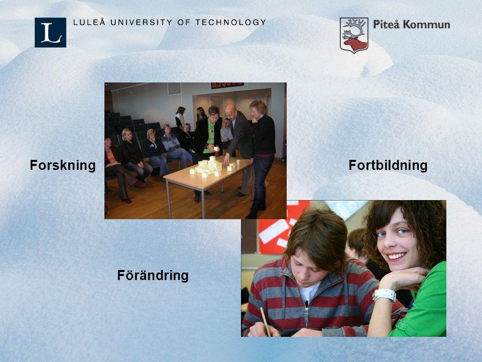 Fortbildning Skapa den röda tråden i skolområdet 1-16-årsperspektiv Nya mötesplatser för pedagoger från förskola till senare delen av grundskolan: - Pedagogiska caféer - Från pedagog till pedagog - Värdefulla berättelser - Nätkonferenser, bloggande Lightkurs och fördjupningskurs (i samarbete med LTU): Litteraturläsning, samtal, reflektion, konkret arbete med barnen.