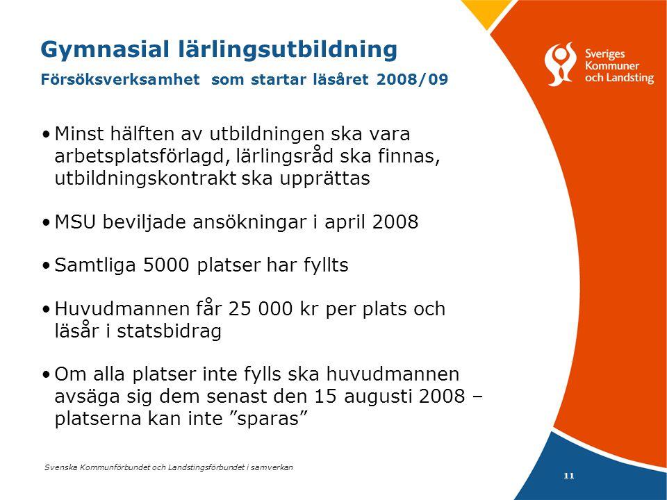 Svenska Kommunförbundet och Landstingsförbundet i samverkan 11 Gymnasial lärlingsutbildning Försöksverksamhet som startar läsåret 2008/09 Minst hälfte