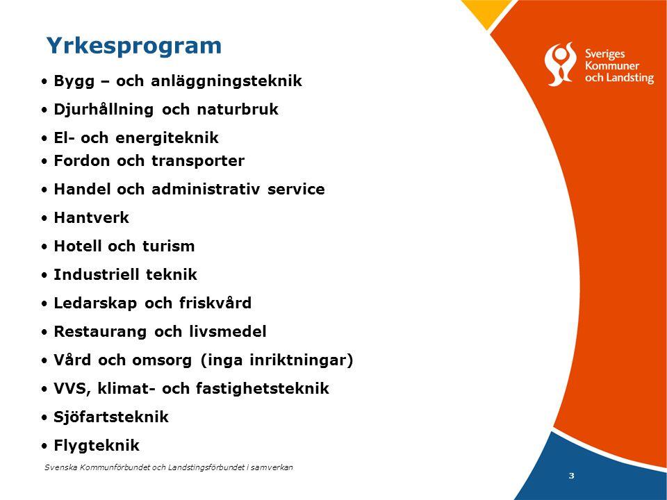 Svenska Kommunförbundet och Landstingsförbundet i samverkan 3 Yrkesprogram Bygg – och anläggningsteknik Djurhållning och naturbruk El- och energitekni