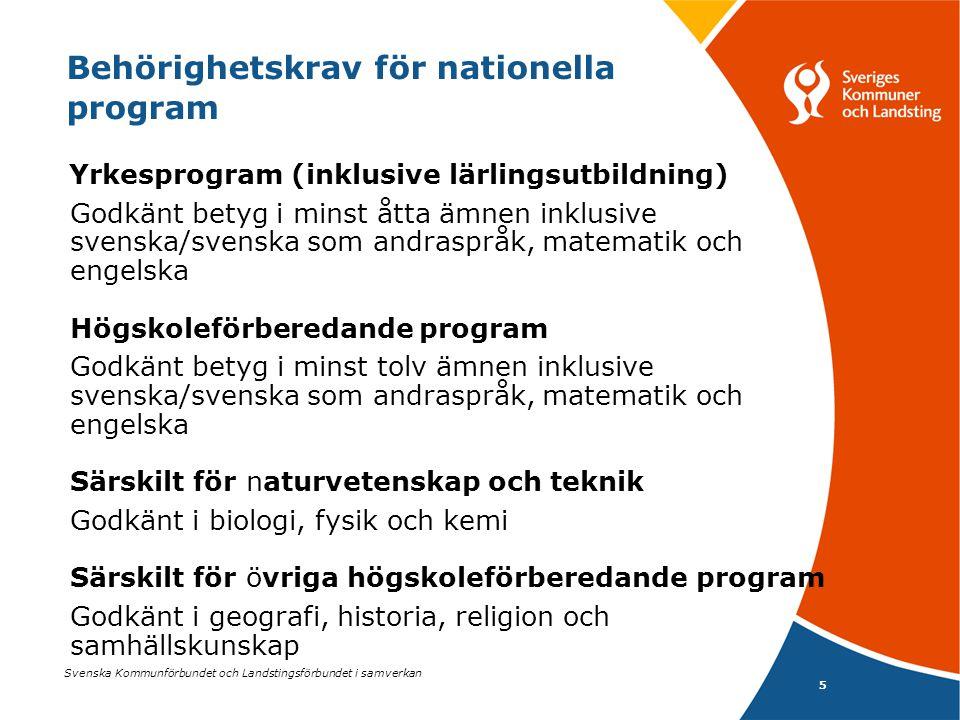 Svenska Kommunförbundet och Landstingsförbundet i samverkan 5 Yrkesprogram (inklusive lärlingsutbildning) Godkänt betyg i minst åtta ämnen inklusive s