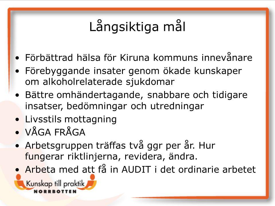 Långsiktiga mål Förbättrad hälsa för Kiruna kommuns innevånare Förebyggande insater genom ökade kunskaper om alkoholrelaterade sjukdomar Bättre omhänd