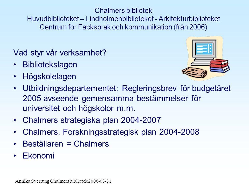 Annika Sverrung Chalmers bibliotek 2006-03-31 Chalmers bibliotek Huvudbiblioteket – Lindholmenbiblioteket - Arkitekturbiblioteket Centrum för Fackspråk och kommunikation (från 2006) Vad styr vår verksamhet.