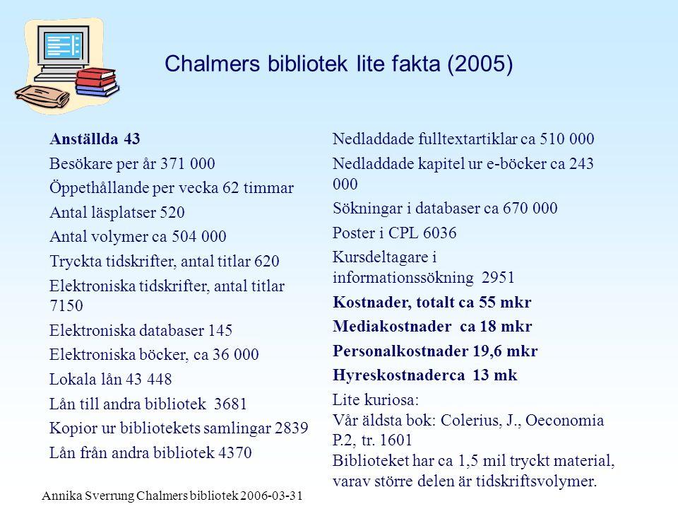 Annika Sverrung Chalmers bibliotek 2006-03-31 Bibliotekets totala kostnad i kronor var 2005: 54 637 000 (2,6 % av Chalmers totalt)
