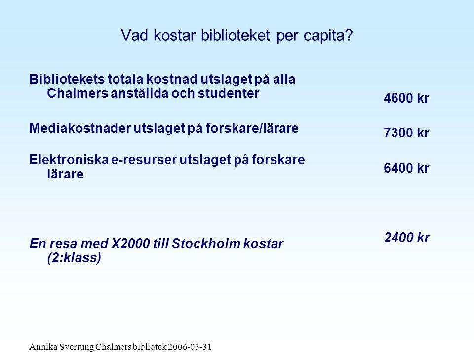 Annika Sverrung Chalmers bibliotek 2006-03-31 Vad kostar biblioteket per capita.