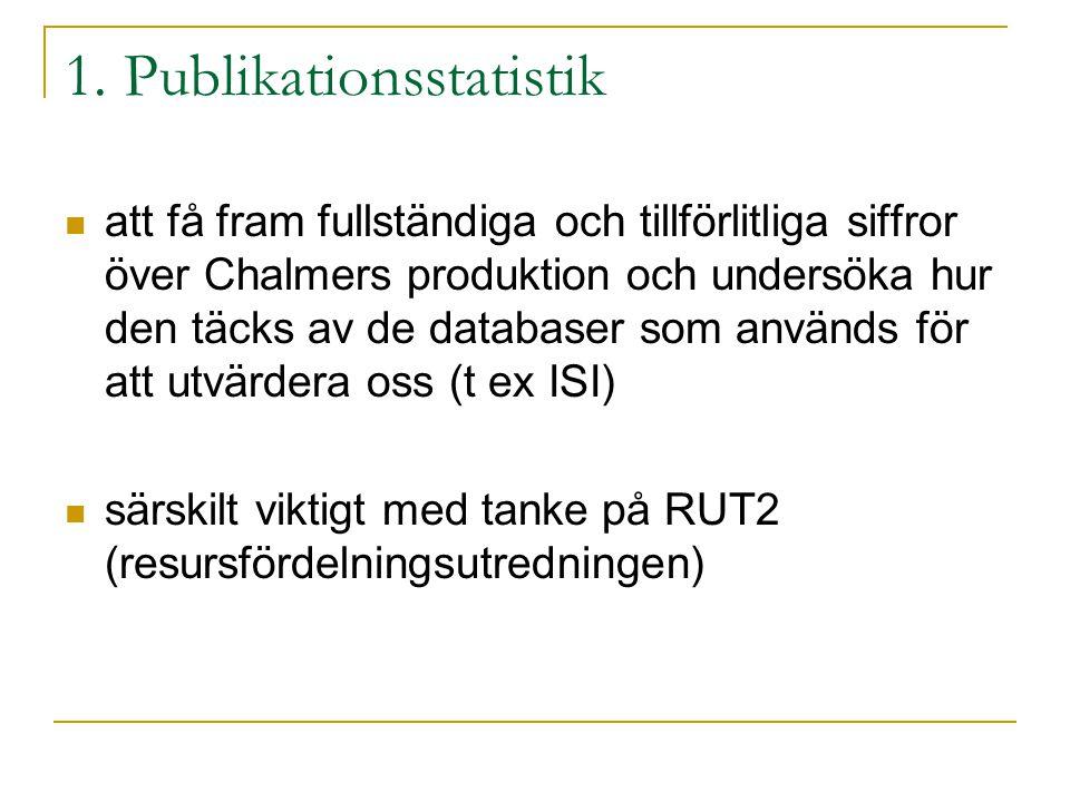 1. Publikationsstatistik att få fram fullständiga och tillförlitliga siffror över Chalmers produktion och undersöka hur den täcks av de databaser som