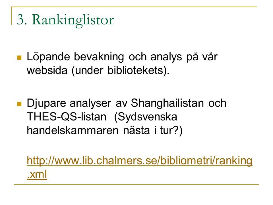 3. Rankinglistor Löpande bevakning och analys på vår websida (under bibliotekets). Djupare analyser av Shanghailistan och THES-QS-listan (Sydsvenska h