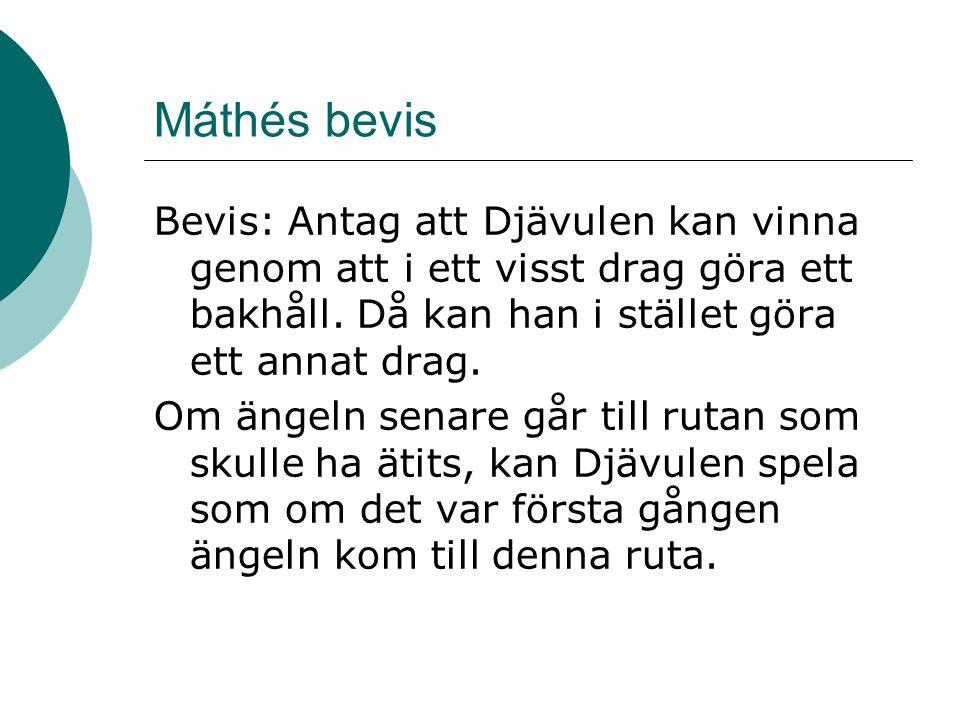Máthés bevis Bevis: Antag att Djävulen kan vinna genom att i ett visst drag göra ett bakhåll. Då kan han i stället göra ett annat drag. Om ängeln sena