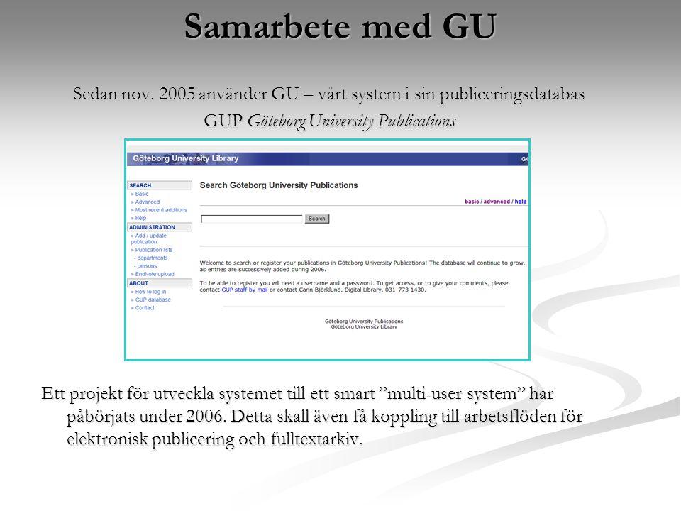 Samarbete med GU Sedan nov.