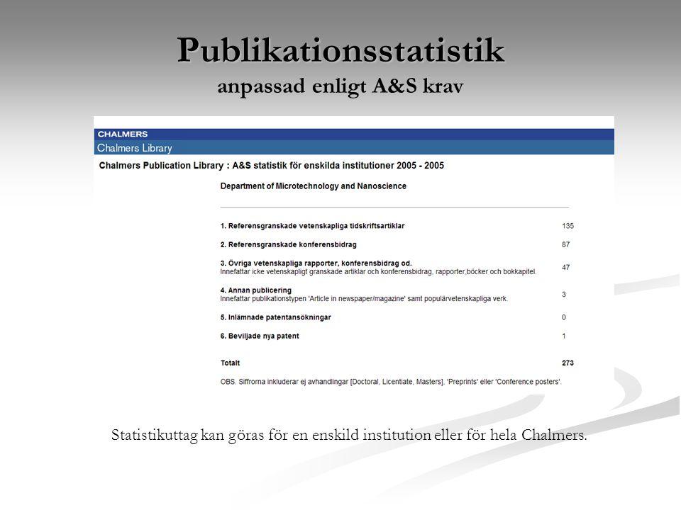 Publikationsstatistik anpassad enligt A&S krav Statistikuttag kan göras för en enskild institution eller för hela Chalmers.