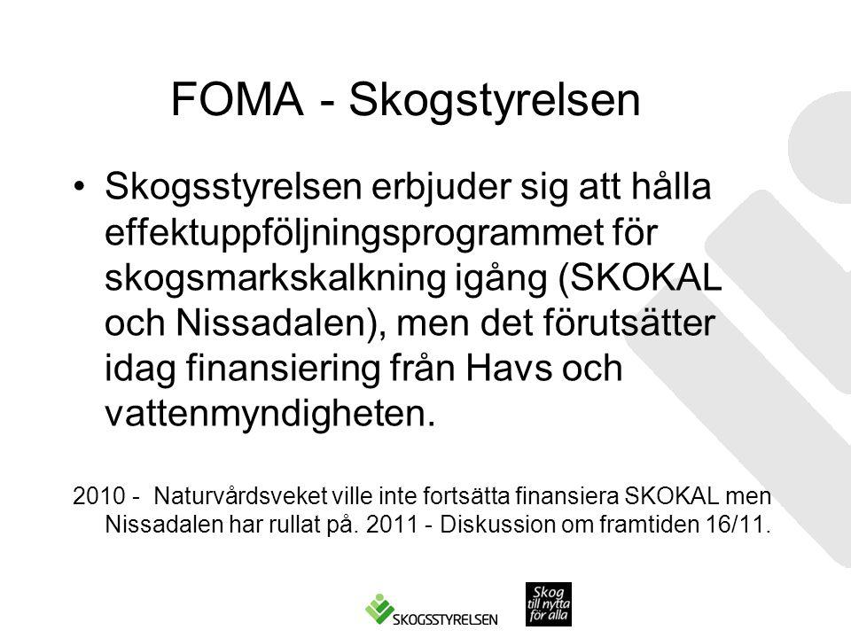 FOMA - Skogstyrelsen Skogsstyrelsen erbjuder sig att hålla effektuppföljningsprogrammet för skogsmarkskalkning igång (SKOKAL och Nissadalen), men det förutsätter idag finansiering från Havs och vattenmyndigheten.