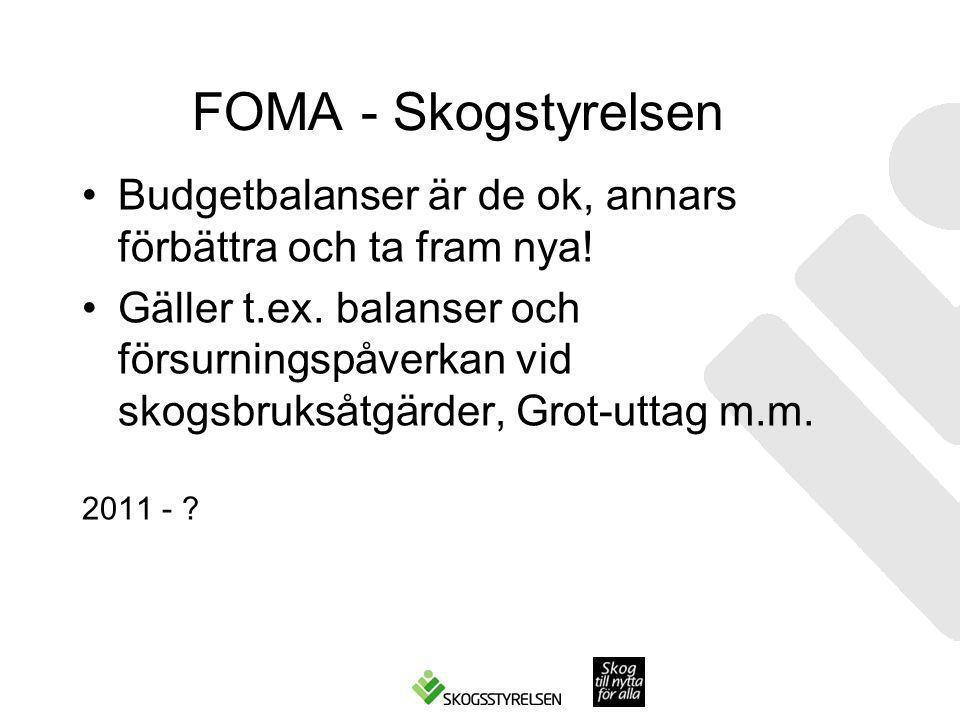 FOMA - Skogstyrelsen Budgetbalanser är de ok, annars förbättra och ta fram nya! Gäller t.ex. balanser och försurningspåverkan vid skogsbruksåtgärder,