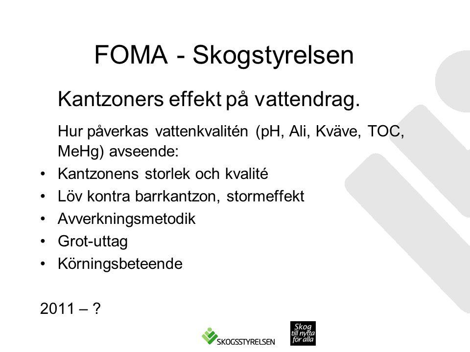 FOMA - Skogstyrelsen Kantzoners effekt på vattendrag. Hur påverkas vattenkvalitén (pH, Ali, Kväve, TOC, MeHg) avseende: Kantzonens storlek och kvalité