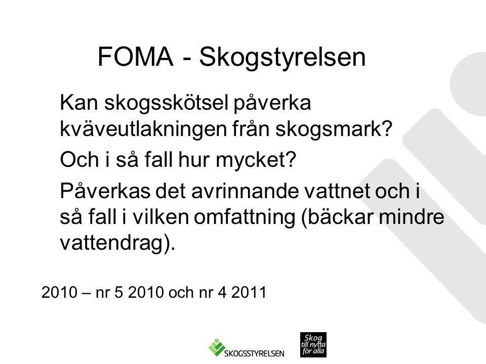 FOMA - Skogstyrelsen Kan skogsskötsel påverka kväveutlakningen från skogsmark? Och i så fall hur mycket? Påverkas det avrinnande vattnet och i så fall