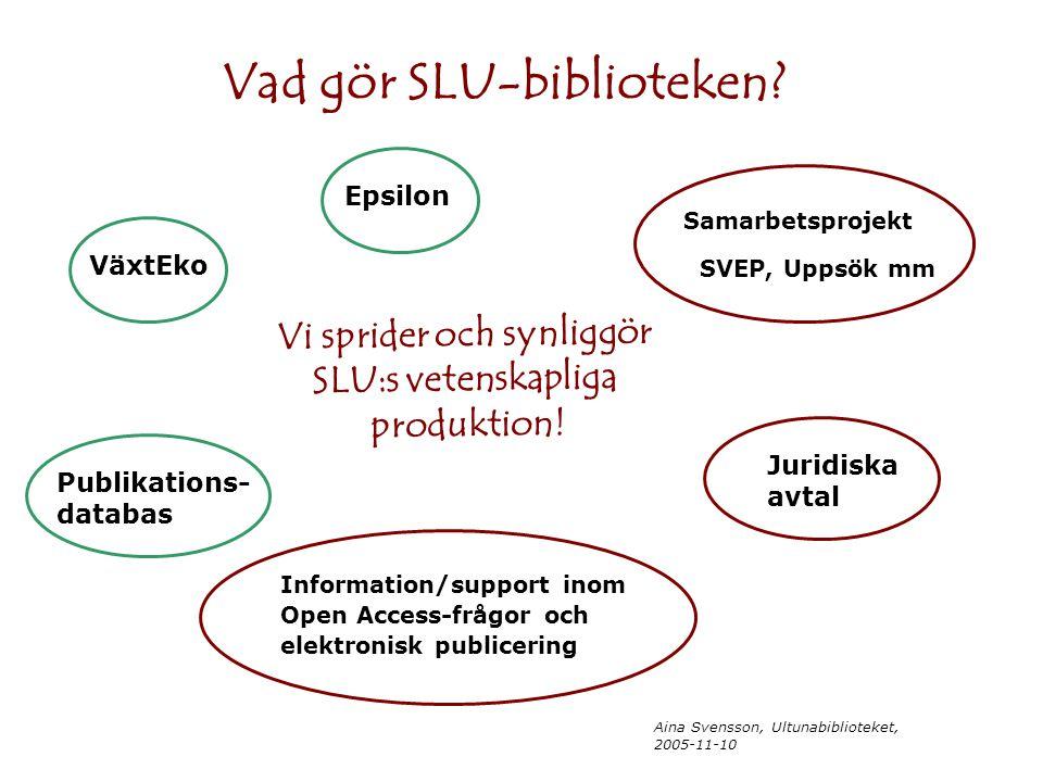 Aina Svensson, Ultunabiblioteket, 2005-11-10 Vad gör SLU-biblioteken? Vi sprider och synliggör SLU:s vetenskapliga produktion! Epsilon VäxtEko Publika