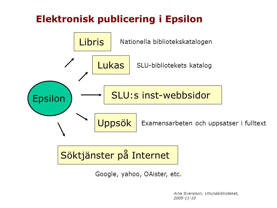 Aina Svensson, Ultunabiblioteket, 2005-11-10 Epsilon Libris Lukas SLU:s inst-webbsidor Uppsök Söktjänster på Internet Elektronisk publicering i Epsilo