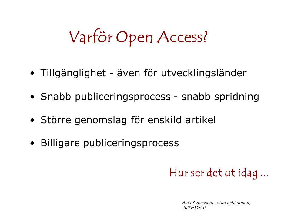 Aina Svensson, Ultunabiblioteket, 2005-11-10 Tillgänglighet - även för utvecklingsländer Snabb publiceringsprocess - snabb spridning Större genomslag för enskild artikel Billigare publiceringsprocess Varför Open Access.