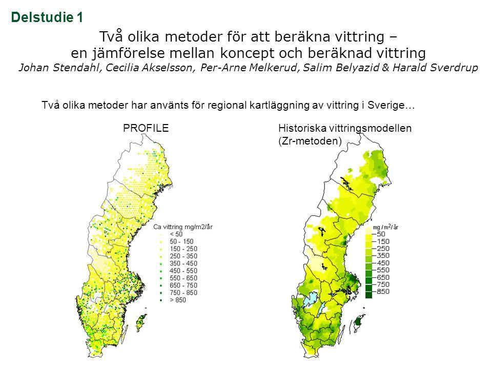 Två olika metoder för att beräkna vittring – en jämförelse mellan koncept och beräknad vittring Johan Stendahl, Cecilia Akselsson, Per-Arne Melkerud, Salim Belyazid & Harald Sverdrup  Hur förhåller sig framräknade vittringshastigheter (50 cm) med PROFILE resp.