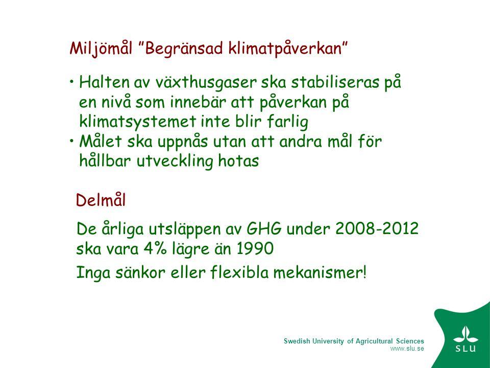 Swedish University of Agricultural Sciences www.slu.se Halten av växthusgaser ska stabiliseras på en nivå som innebär att påverkan på klimatsystemet i