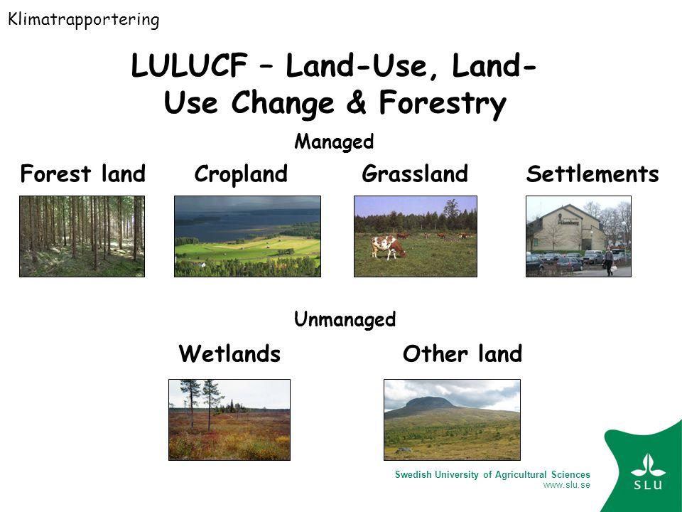 Swedish University of Agricultural Sciences www.slu.se LULUCF – Land-Use, Land- Use Change & Forestry Managed Forest land Cropland Grassland Settlements Unmanaged Wetlands Other land Klimatrapportering