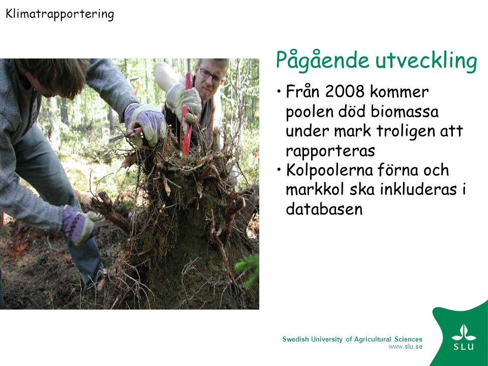 Swedish University of Agricultural Sciences www.slu.se Pågående utveckling Från 2008 kommer poolen död biomassa under mark troligen att rapporteras Kolpoolerna förna och markkol ska inkluderas i databasen Klimatrapportering